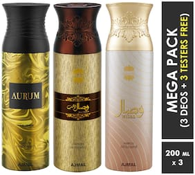 Ajmal Aurum & Wisal Dahab & Wisal  Deodorant Spray  For Men & Women 200ml each (Pack of 3, 600ml) + 3 Parfum Testers  Free