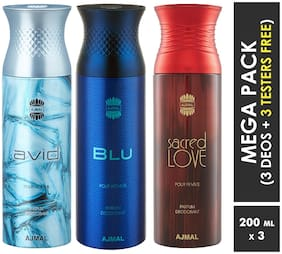 Ajmal Avid & Blu & Sacred Love Deodorant Spray  For Men & Women 200ml each (Pack of 3, 600ml) + 3 Parfum Testers  Free