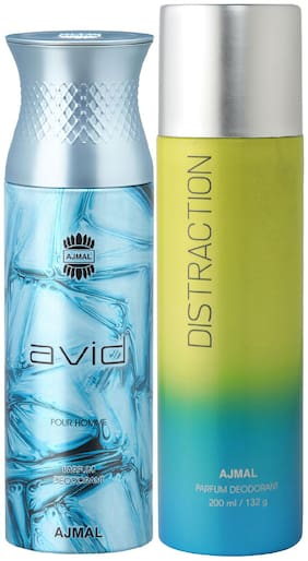 Ajmal Avid for Men and Distraction for Men & Women High Quality Deodorants each 200 ml Combo ( Pack of 2 )