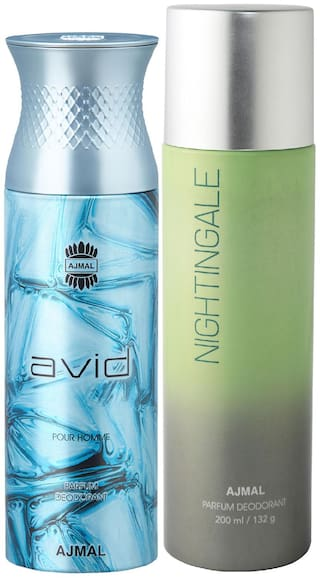 Ajmal Avid for Men and Nightingale for Men & Women High Quality Deodorants each 200 ml Combo ( Pack of 2 )