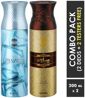 Ajmal Avid Homme & Wisal Dhahab Deodorant Spray  For Men 200ml each (Pack of 2, 400ml) + 2 Parfum Testers  Free