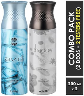 Ajmal Avid & ShadowHim Deodorant Spray for Men 200ml each (Pack of 2, 400ml) + 2 Parfum Testers  Free