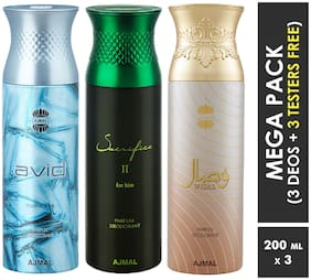 Ajmal Avid & Sacrifice II & Wisal Deodorant Spray  For Men & Women 200ml each (Pack of 3, 600ml) + 3 Parfum Testers  Free