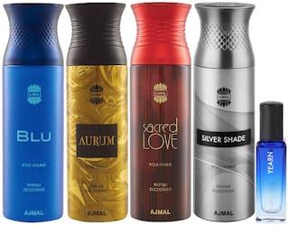 Ajmal Blu & Aurum & Sacred Love & Silver Shade Deo each 200 ml & Yearn EDP 20 ml Pack of 4  for Men & Women