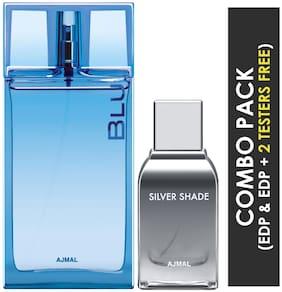 Ajmal Blu EDP Aquatic Woody Perfume 90ml for Men and Silver Shade EDP Citrus Woody Perfume 100ml for Men (Pack of 2)