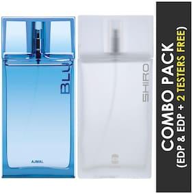 Ajmal Blu EDP Aquatic Woody Perfume 90ml for Men and Ajmal Shiro EDP Citrus Spicy Perfume 90ml for Men