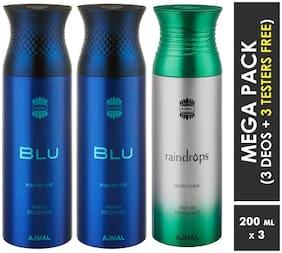 Ajmal Blu & Blu & Raindrops Deodorant Spray  For Men & Women 200ml each (Pack of 3, 600ml) + 3 Parfum Testers  Free