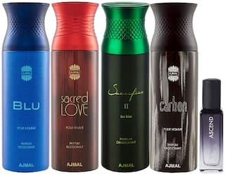 Ajmal Blu & Sacred Love & SacrificeIIHim & Carbon Deo each 200 ml & Ascend EDP 20 ml Pack of 5  for Men & Women