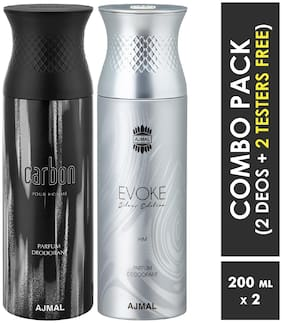 Ajmal Carbon & EvokeSilverHim Deodorant Spray for Men 200ml each (Pack of 2, 400ml) + 2 Parfum Testers  Free