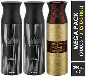 Ajmal Carbon & Carbon & Wisal Dahab Deodorant Spray  For Men  200ml each (Pack of 3, 600ml) + 3 Parfum Testers  Free