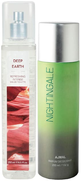 Ajmal Deep Earth Edt Of 250Ml & Nightingale High Quality Deodorant 200Ml Combo Pack Of 2 (Total 450Ml) For Men & Women