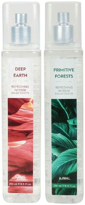 Ajmal Deep Earth & Primitive Forests Edt Combo Pack Of 2 Each 250Ml (Total 500Ml) For Men & Women