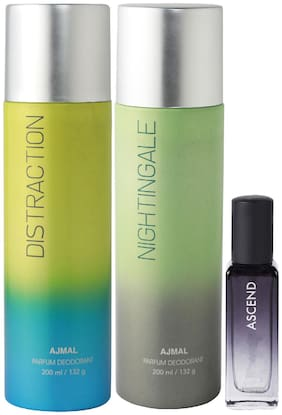 Ajmal Distraction & Nightingale Deo each 200 ml & Ascend EDP 20 ml Pack of 3  for Men & Women