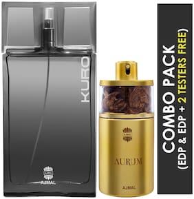Ajmal Kuro EDP Aromatic Spicy Perfume 90ml for Men and Ajmal Aurum EDP Fruity Floral Perfume 75ml for Women (Pack of 2)