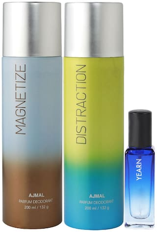 Ajmal Magnetize & Distraction Deo each 200 ml & Yearn EDP 20 ml Pack of 3  for Men & Women