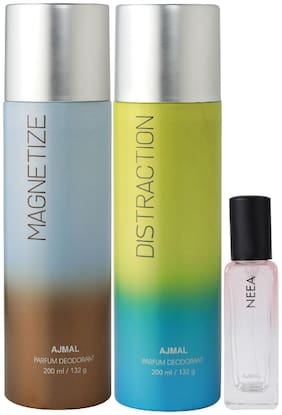 Ajmal Magnetize & Distraction Deo each 200 ml & Neea EDP 20 ml Pack of 3  for Men & Women