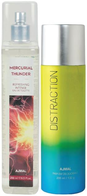 Ajmal Mercurial Thunder Edt Of 250Ml & Distraction High Quality Deodorant 200Ml Combo Pack Of 2 (Total 450Ml) For Men & Women