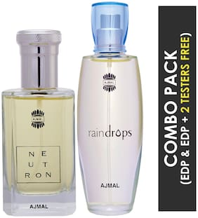 Ajmal Neutron EDP Citrus Fruity Perfume 100ml for Men and Ajmal Raindrops EDP Floral Chypre Perfume 50ml for Women (Pack of 2)
