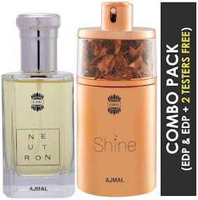 Ajmal Neutron EDP Citrus Fruity Perfume 100ml for Men and Ajmal Shine EDP Floral Powdery Perfume 75ml for Women