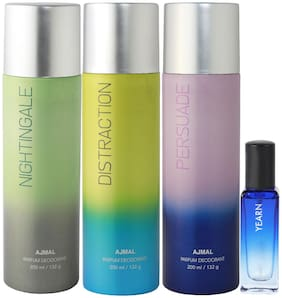 Ajmal Nightingale & Distraction & Persuade Deo each 200 ml & Yearn EDP 20 ml Pack of 3  for Men & Women