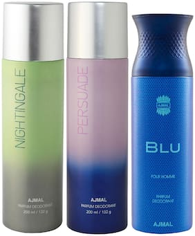 Ajmal Nightingale and Persuade for Men & Women and Blu Homme for Men High Quality Deodorants  200 ml Each ( Pack of 3 )