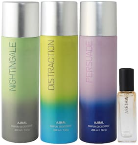 Ajmal Nightingale & Distraction & Persuade Deo each 200 ml & Aretha EDP 20 ml Pack of 3  for Men & Women
