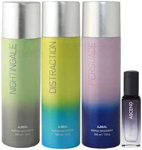 Ajmal Nightingale & Distraction & Persuade Deo each 200 ml & Ascend EDP 20 ml Pack of 3  for Men & Women