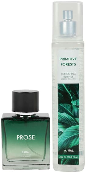 Ajmal Prose Edp For Men 100Ml & Primitive Forest Edt For Men & Women 250Ml Combo Pack Of 2 (Total 350Ml)