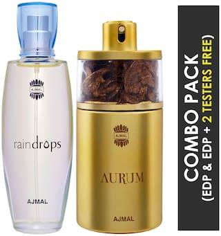Ajmal Raindrops EDP Floral Chypre Perfume 50ml for Women and Ajmal Aurum EDP Fruity Floral Perfume 75ml for Women
