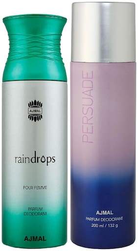 Ajmal Raindrops Femme for Women and Persuade for Men & Women High Quality Deodorants each 200 ml Combo ( Pack of 2 )