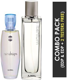 Ajmal Raindrops EDP Floral Chypre Perfume 50ml for Women and Titanium EDP Citrus Spicy Perfume 100ml for Men