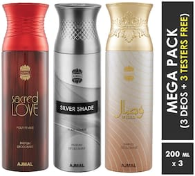 Ajmal Sacred Love & Silver Shade & Wisal Deodorant Spray  For Men & Women 200ml each (Pack of 3, 600ml) + 3 Parfum Testers  Free