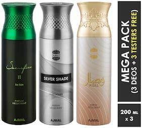 Ajmal Sacrifice II & Silver Shade & Wisal Deodorant Spray  For Men & Women 200ml each (Pack of 3, 600ml) + 3 Parfum Testers  Free