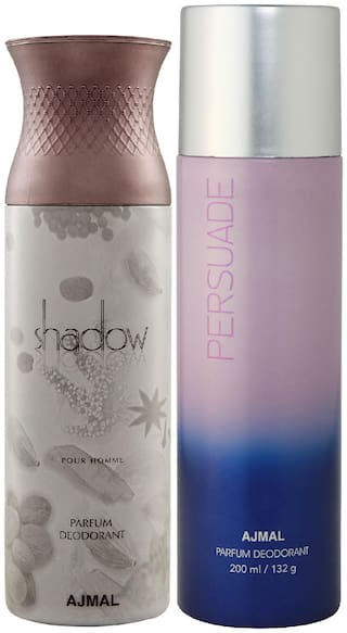 Ajmal Shadow Him for Men and Persuade for Men & Women High Quality Deodorants each 200 ml Combo ( Pack of 2 )