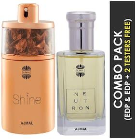 Ajmal Shine EDP Floral Powdery Perfume 75ml for Women and Ajmal Neutron EDP Citrus Fruity Perfume 100ml for Men (Pack of 2)
