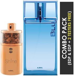 Ajmal Shine EDP Floral Powdery Perfume 75ml for Women and Ajmal Blu EDP Aquatic Woody Perfume 90ml for Men