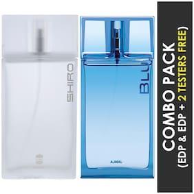 Ajmal Shiro EDP Citrus Spicy Perfume 90ml for Men and Blu EDP Aquatic Woody Perfume 90ml for Men (Pack of 2)