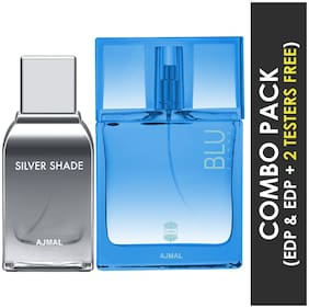 Ajmal Silver Shade EDP Citrus Woody Perfume 100ml for Men and Blu Femme EDP Floral Woody Perfume 50ml for Women