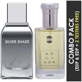 Ajmal Silver Shade EDP Citrus Woody Perfume 100ml for Men and Neutron EDP Citrus Fruity Perfume 100ml for Men (Pack of 2)