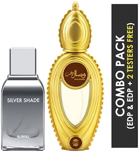 Ajmal Silver Shade EDP Citrus Woody Perfume 100ml for Men and Ajmal Wisal Dhahab EDP Fruity Floral Perfume 50ml for Men (Pack of 2)