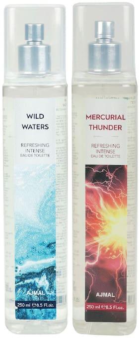 Ajmal Wild Waters Edt & Mercurial Thunder Edt Combo Pack Of 2 Each 250Ml (Total 500Ml) For Men & Women