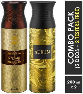 Ajmal Wisal Dhahab & Aurum Deodorant Spray  For Men & Women 200ml each (Pack of 2, 400ml) + 2 Parfum Testers  Free