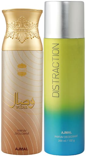 Ajmal Wisal for Women and Distraction for Men & Women High Quality Deodorants each 200 ml Combo ( Pack of 2 )