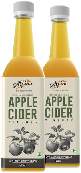Alpino Apple Cider Vinegar 100% Raw & Unfiltered with Mother 500ml(Pack of 2)