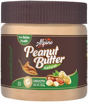 Alpino Natural Smooth Peanut Butter 250g (Unsweetened)