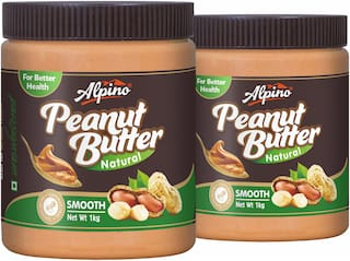 Alpino Natural Peanut Butter Smooth 1kg (Pack Of 2)