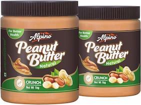 Alpino Natural Peanut Butter Crunch 1kg (Pack Of 2)
