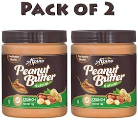 Alpino Natural Peanut Butter Crunch 1kg (Pack Of 2)
