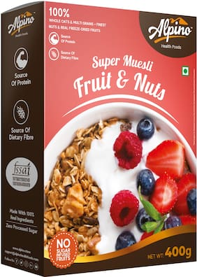 Alpino Super Muesli Fruit & Nuts 400 g (Whole Grain Breakfast Cereal)