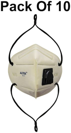 ALTEK Anti Pollition Activate N95 Face Mask With Respirator And Long Strap Yellow (Pack Of 10)
